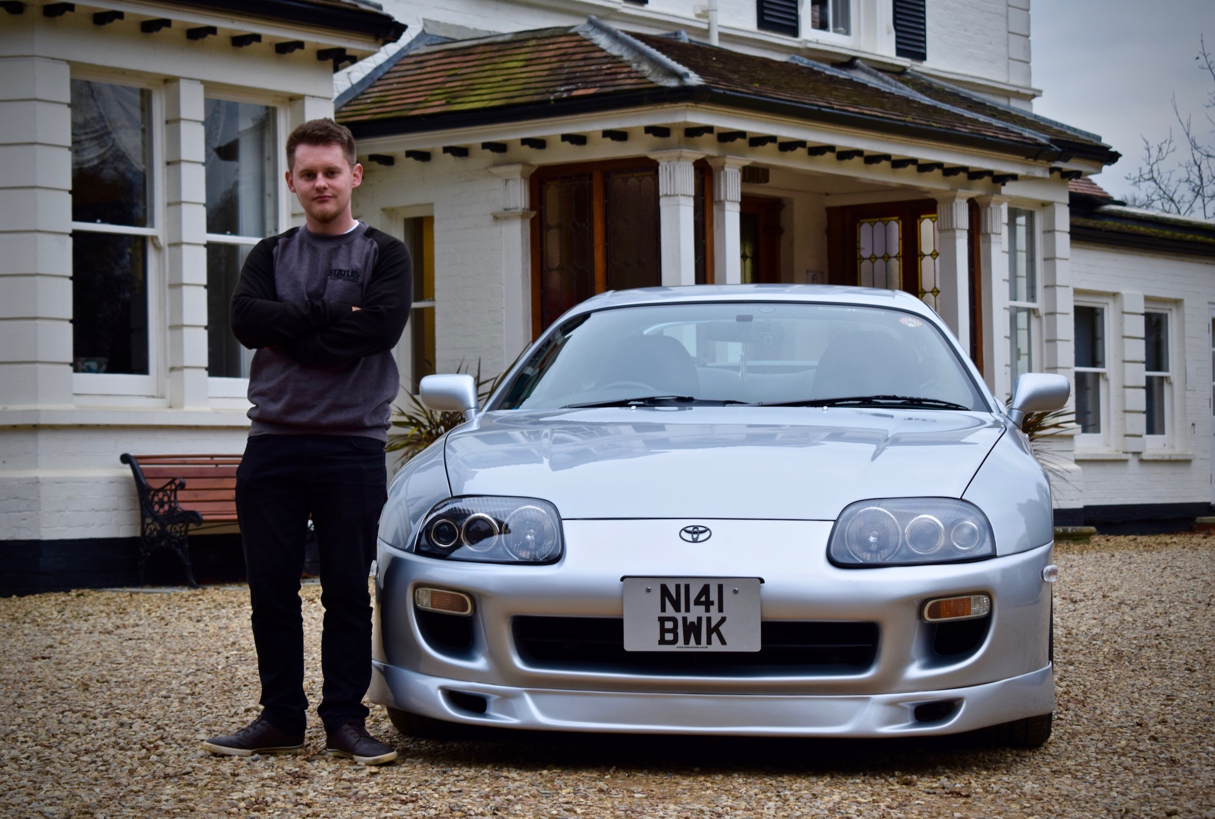 Jamie with his Supra outside the Adrian Flux offices