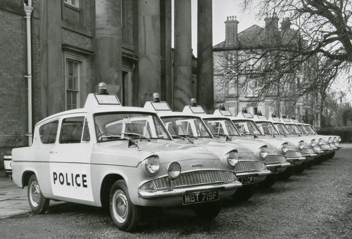 Anglia Panda cars on parade
