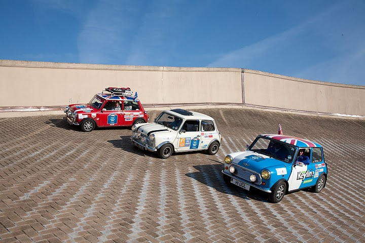 Three Minis on the roof of the famous old Fiat factory