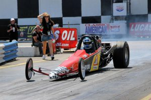 Daddy Cool dragster has lift off at Shakespeare County Raceway