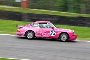 The Pink Panther Porsche on the road for the Tour Britannia
