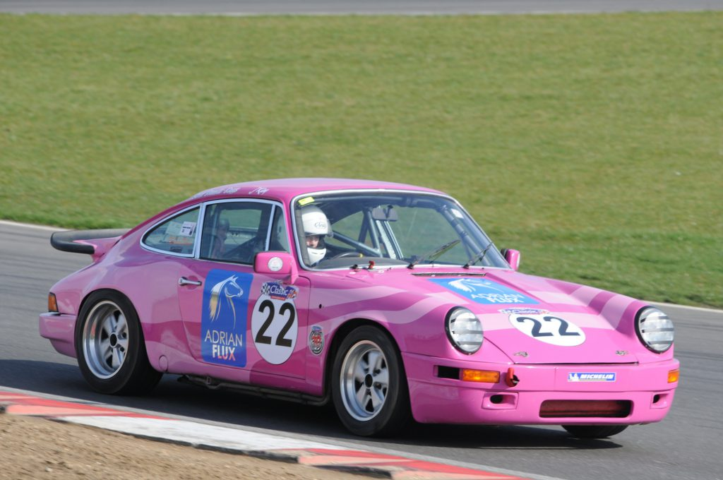 Sarah in her usual conveyance, the Pink Panther