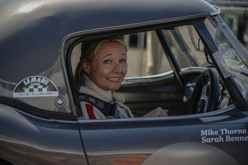 Sarah preparing for action in the Healey
