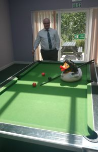 Wolverduck playing pool