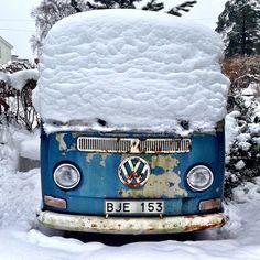Camper in snow