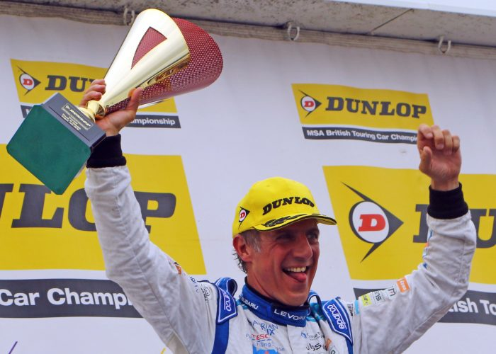 Jason Plato with winners trophy at Knockhill