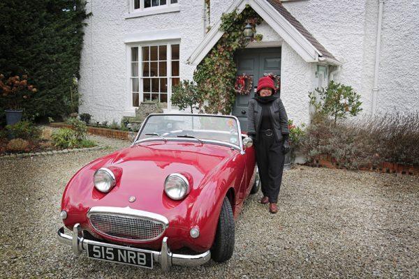 Red Austin-Healey frogeye Sprite