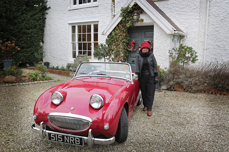 Red Austin-Healey frogeye Sprite