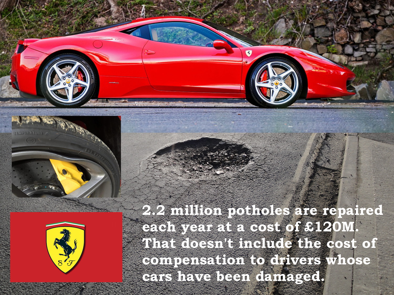 Ferrari pothole damage