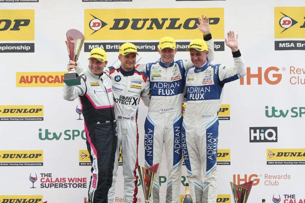 Ash Sutton Colin Turkington Jason PLato podium Knockhill 2017 BTCC