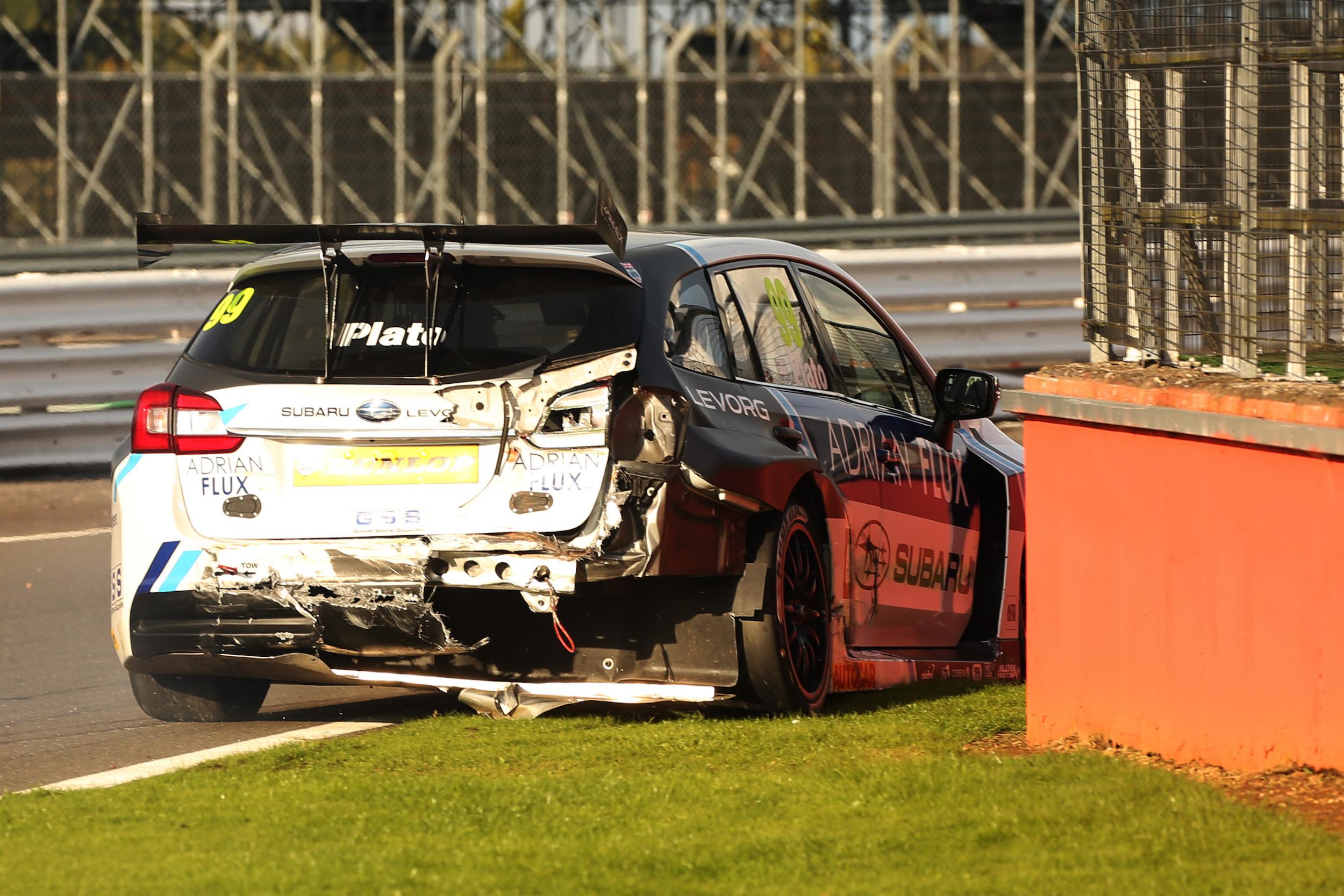 Jason Plato accident damage BTCC