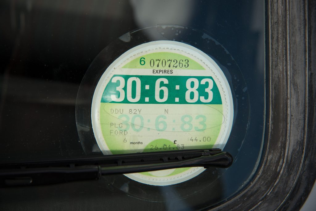 Fiesta XR2 1983 tax disc