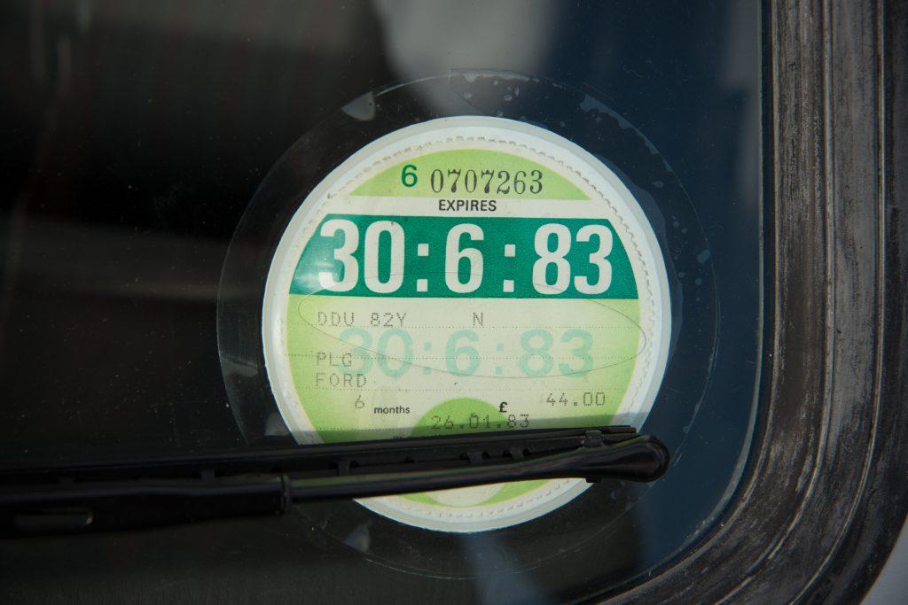 Fiesta XR2 1983 tax disc