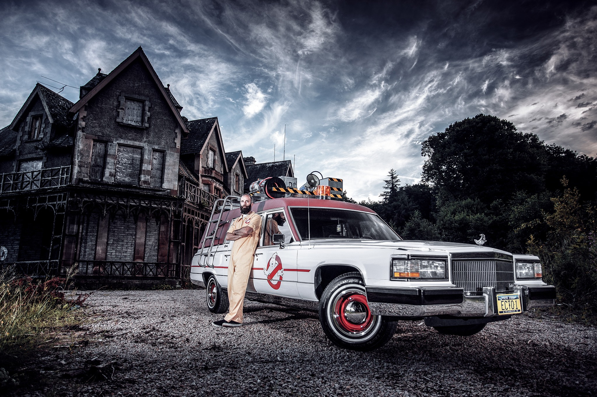 American Hearse Converted Into Ghostbusters Ecto 1