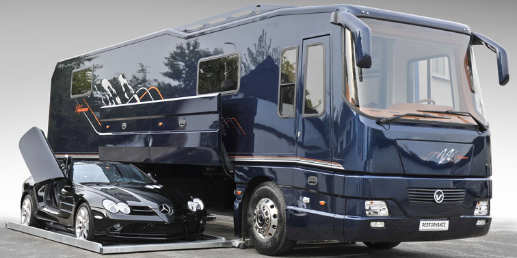 Luxury volkner motorhome comes with car and garage for Class a rv with car garage