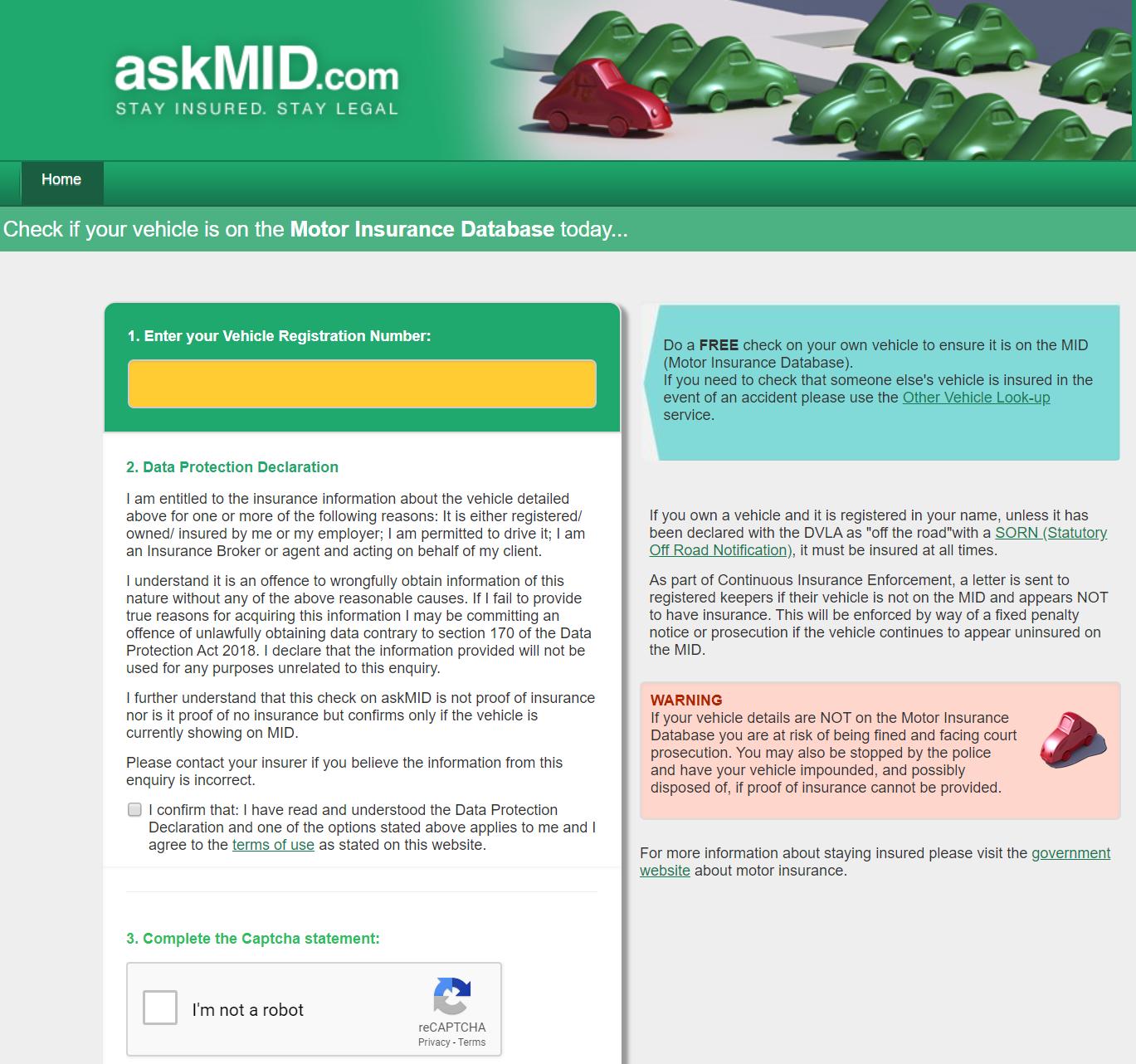 AskMID website screnshot