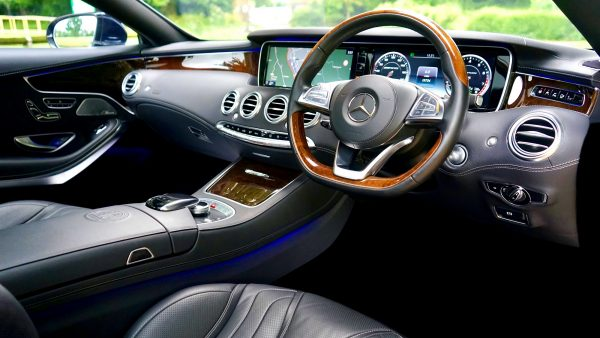 Inside of new car with high tech dashboard