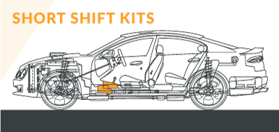 Schematic diagram of a car's modified short shift kits