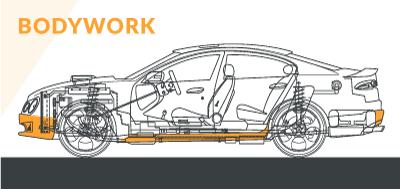 Schematic diagram of modified car bodywork