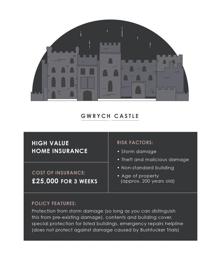 Illustration Gwyrch Castle insurance costs