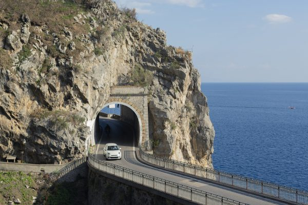 Car driving through a tunnel on the Amalfi Coast