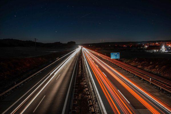 The Autobahn, Gemany, at night