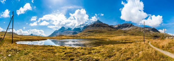 Panoramic view of the Bernina Pass in Switzerland