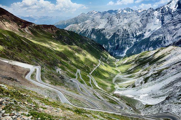 Stelvio Pass's winding roads among mountains