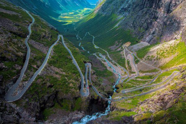 Panoramic shot of the Trollstigen Pass in Norway