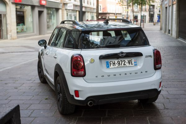 Rear of MINI Cooper S Countryman Electric outside shops