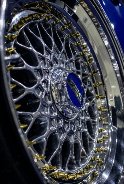 An alloy wheel shines.