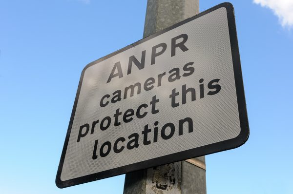 Sign warning that ANPR cameras are in use in the area