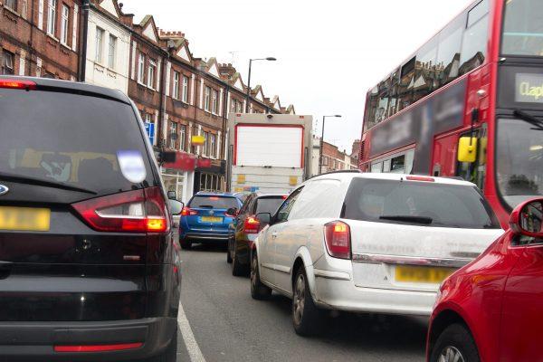Heavy traffic on a London road