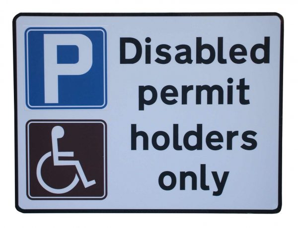 Parking sign for disabled permit holders only
