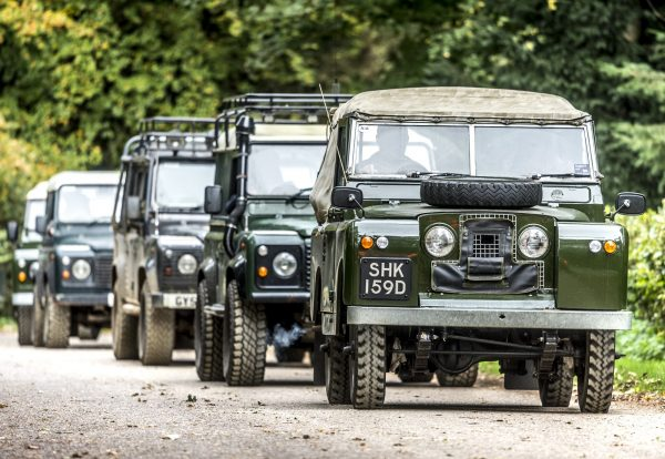 Military style Land Rovers in a line