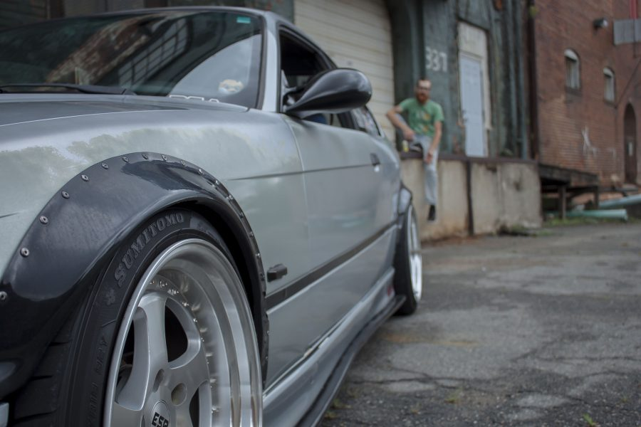 An arty view of modified wheels on a BMW