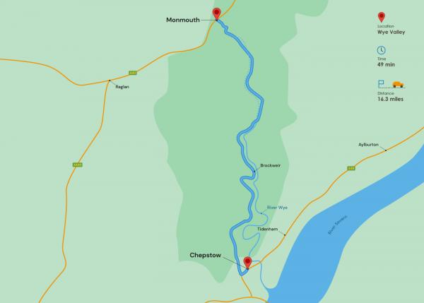 चेपस्टो से मॉनमाउथ चित्रण - शरदकालीन मार्ग