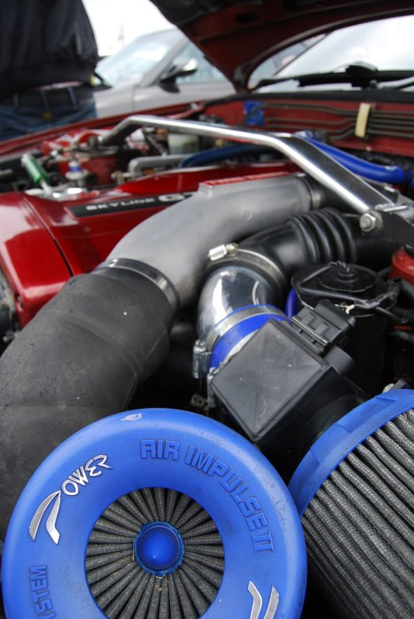 The inside of a car engine